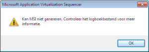 App-V Sequencer cannot generate MSI