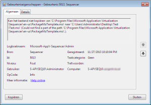 Windows Event Log, Source Sequencer, Event ID 5013