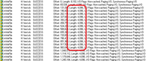 On the virtual machine, Process Monitor results show a length of 4096 bytes.