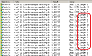 In the desktop environment, Process Monitor results show a length of 2 bytes.